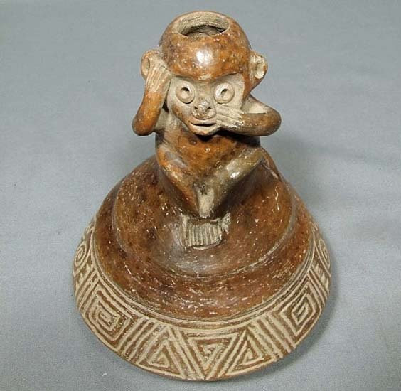 Ancient Pre-Columbian Chorrera 9th–5th c BC Ceramic Effigy Monkey Vessel