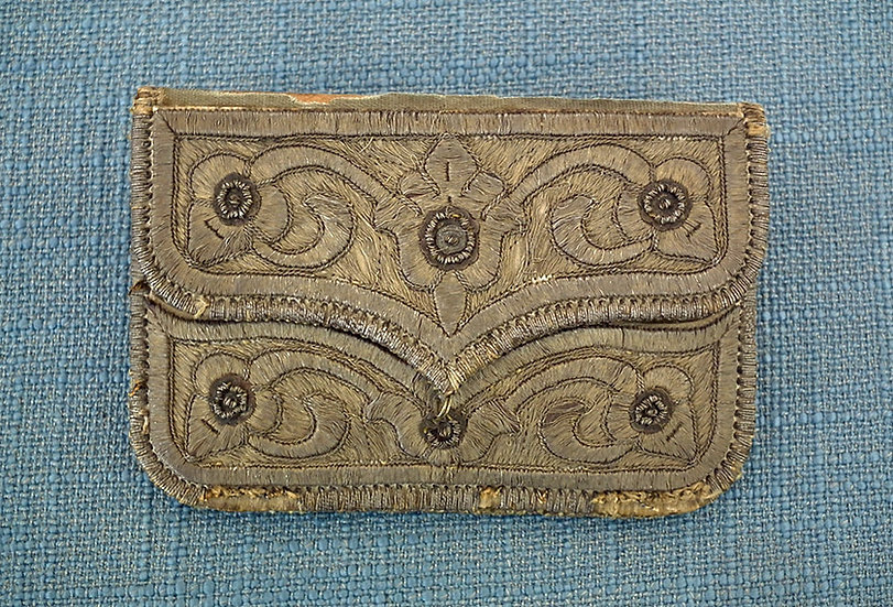 Antique 18th Century Islamic Turkish Ottoman Silver Embroidered Wallet