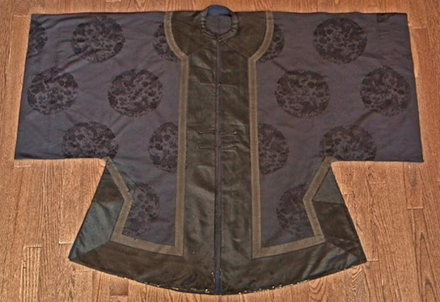 Antique Chinese Qing Dynasty Robe Navy Blue Silk with Dragon & Phoenix