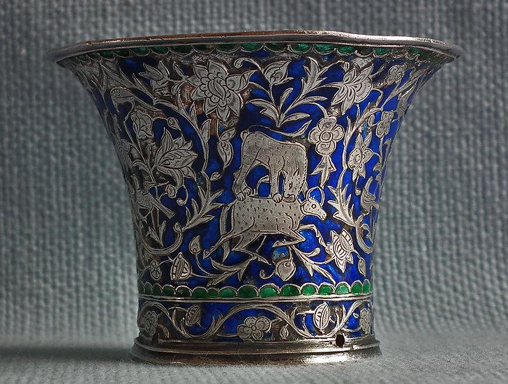 SOLD Antique Indo Persian Qajar Silver enameled Islamic Nargileh Qalyan Cup