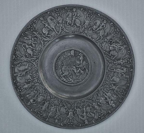 Antique 17th Nürnberg Zinn Pewter Relief Plate Emperor Ferdinand II Habsburg