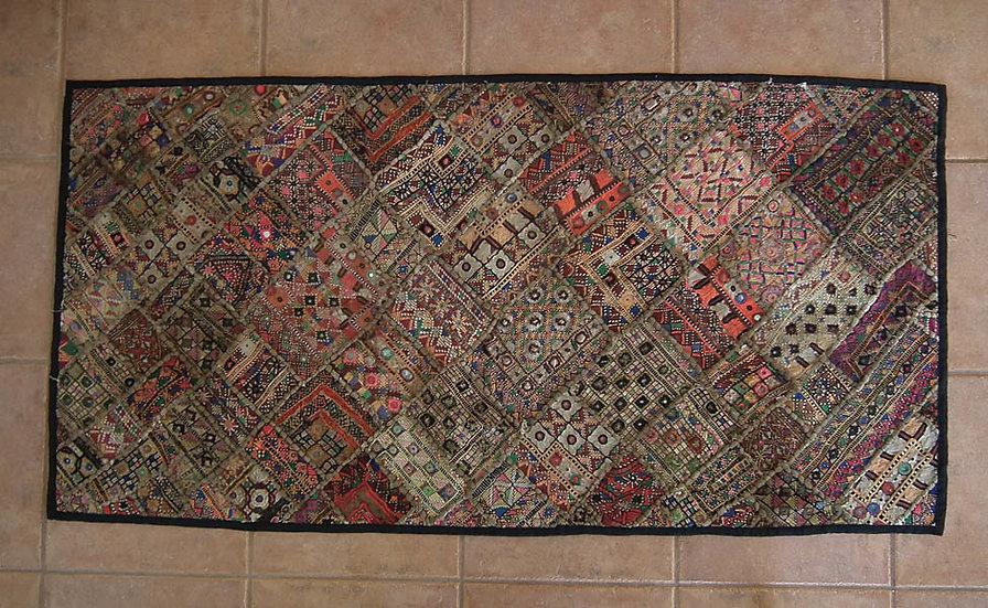 Antique Indian Tribal Banjara Embroidered Patchwork Tapestry Rajasthan Gujarat