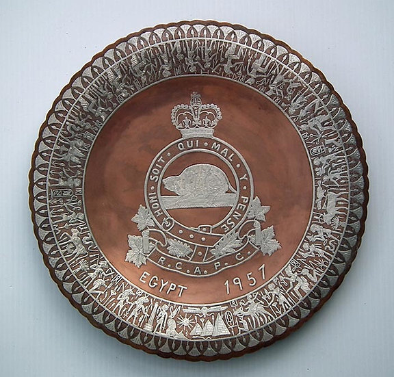 Semi-Antique Silver Inlaid Copper Presentation Plate The Royal Canadian Army Pay