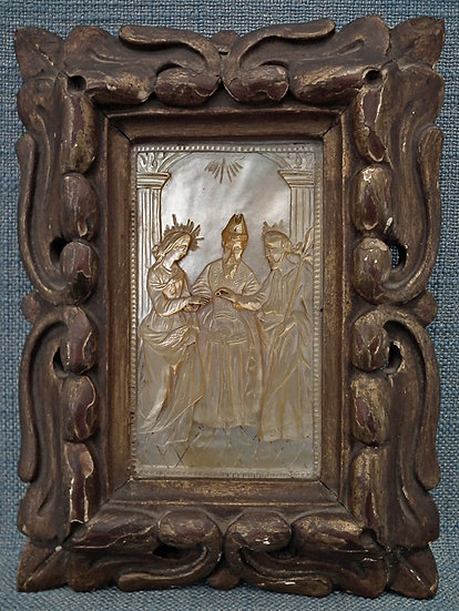 Antique 18th Century Relief Marriage of The Virgin Mary with St Joseph