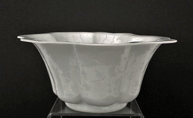 Antique Chinese Qing Dynasty Large White Peking Glass- Beijing Glass Bowl