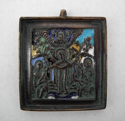 Antique Russian Orthodox 18th c Brass & Enamel Icon The Mother of Good