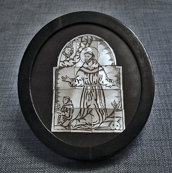 Antique 17 - 18th c Bethlehem Mother of Pearl Baroque Saint Francis of Assisi
