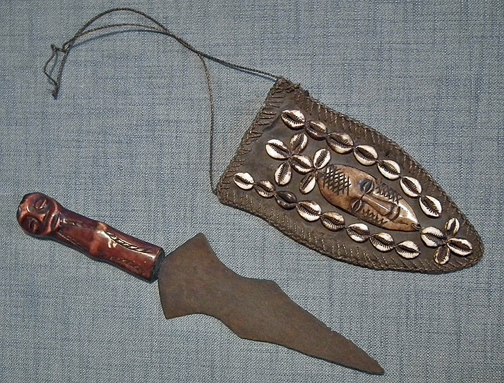 Antique African Ceremonial Dagger with Carved Effigy Bone Grip