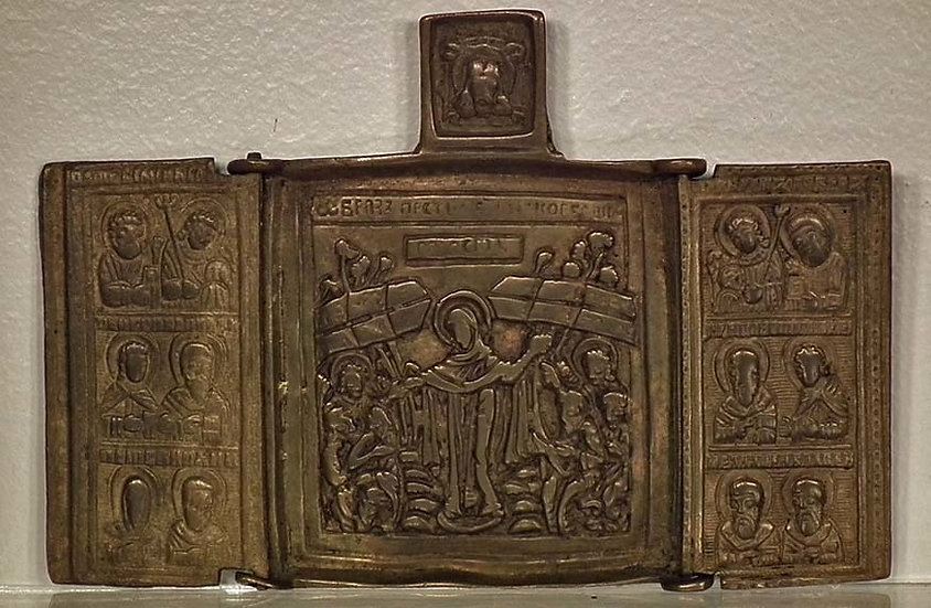 Antique Russian Orthodox Brass Triptych Icon The Mother of Good