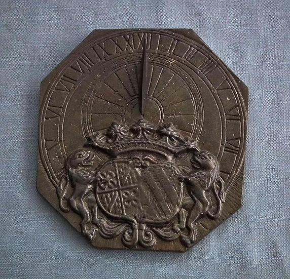 Antique Armorial Bronze Sundial Dutch Heraldic Crest Coat of Arms
