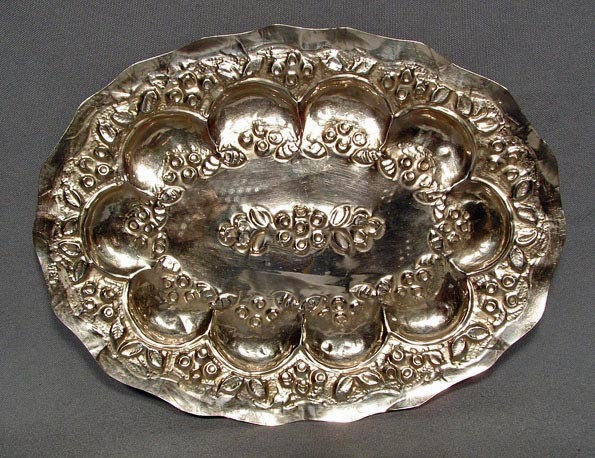 Antique 18th century Spanish colonial silver oval platter