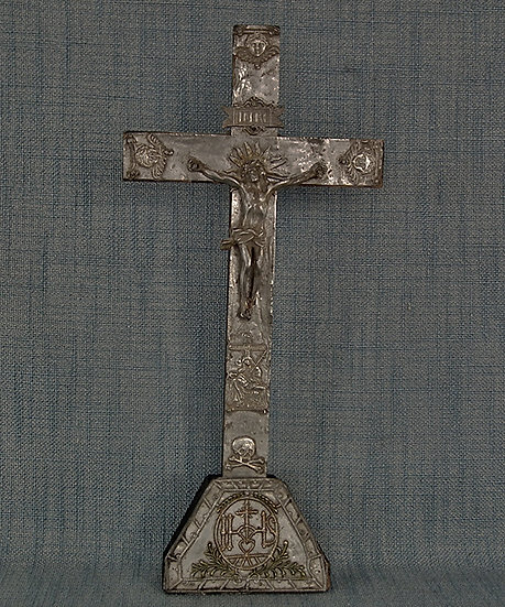 Antique 17th century Baroque Wood And Pewter Crucifix Cross