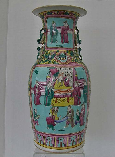 Antique Qing Dynasty Chinese Porcelain Famille-Rose Turquoise-Ground Vase
