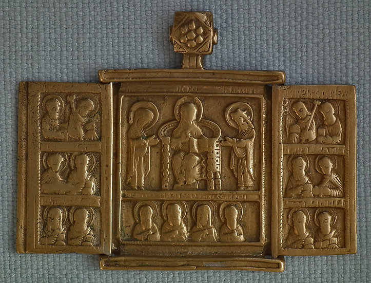 Antique 17th century Russian Bronze Triptych Icon