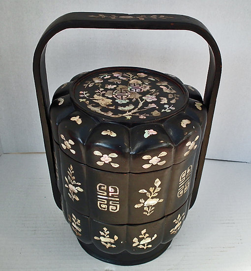 SOLD Antique Chinese Lacquer Qing Dynasty Wedding Basket Lunch Box