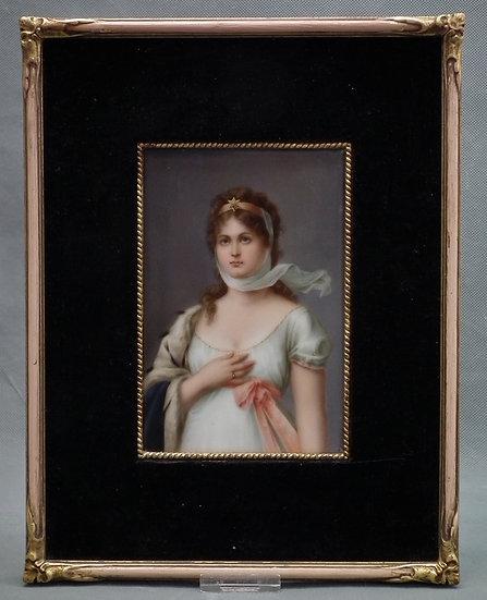 Antique Hand Painted German porcelain Plaque Portrait Queen Louise Of Prussia