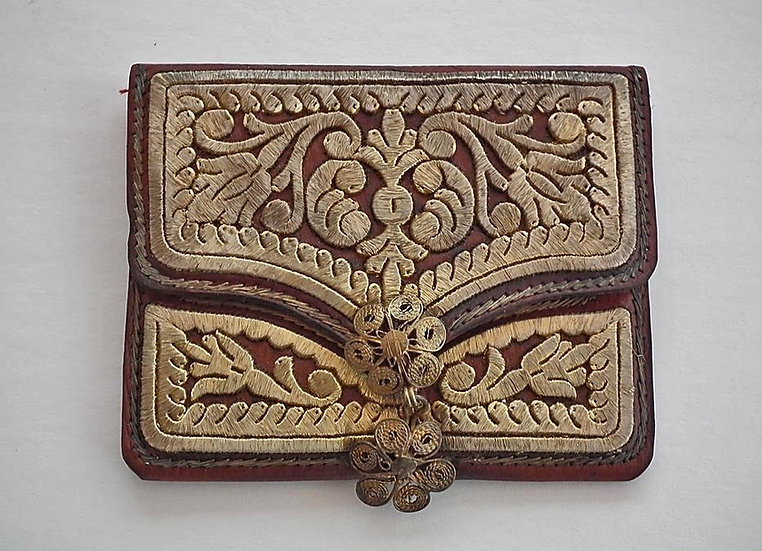 Antique 18th c Islamic Turkish Ottoman Leather Wallet  Embroidered In Gilt Metal