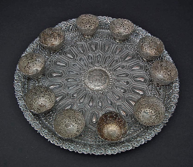 Antique 18th- 19th c Islamic Turkish Ottoman Silvered Copper Zarfs and Tray