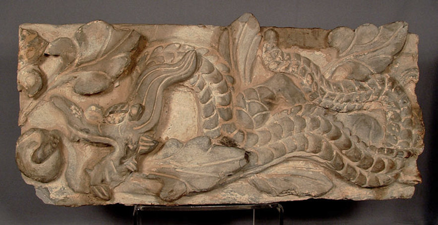 Ancient Chinese Wall Brick with Dragon Tang Dynasty (618-907 A.D.)