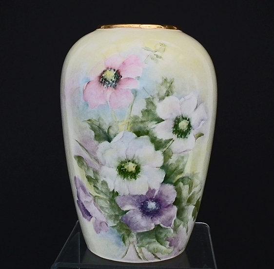 Antique Porcelain Vase In Belleek Manner Signed Nellie