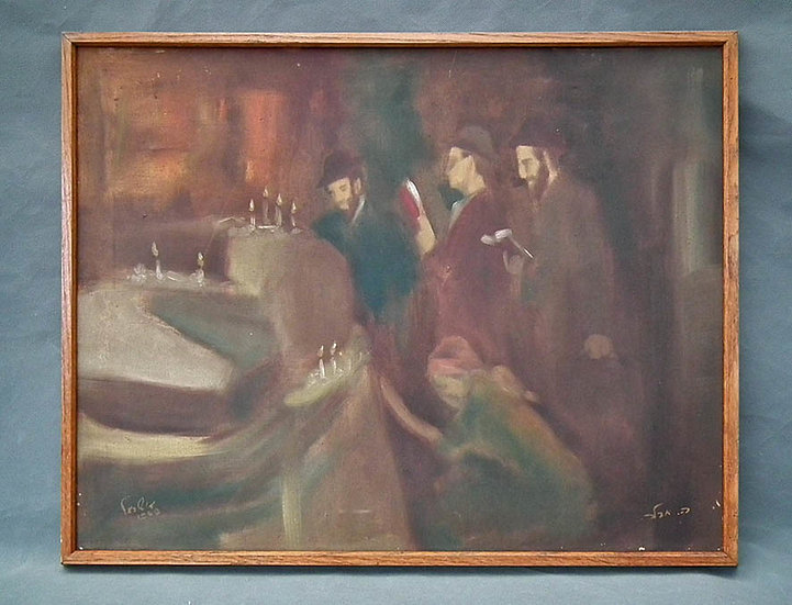 Authentic Oil Painting by Romanian Born Jewish Israeli Artist Adler Adolf