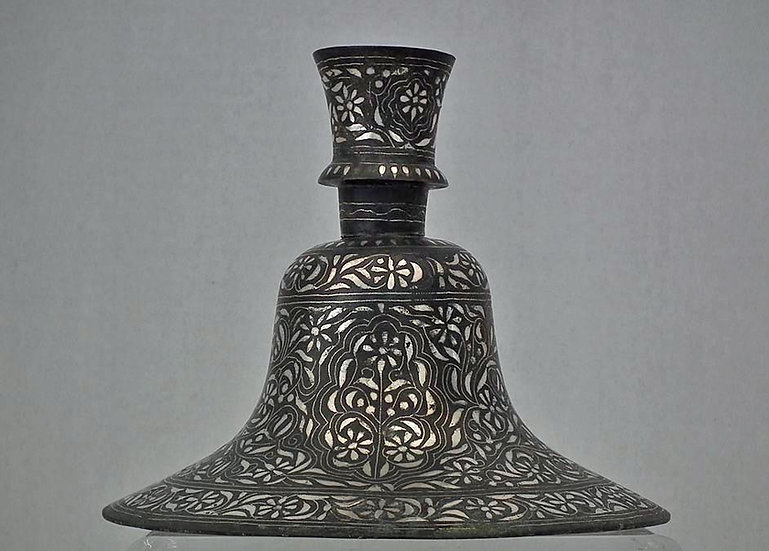 Antique 18th c Islamic Indian Mughal Silver Inlaid Bidri Hookah Huqqa Deccan