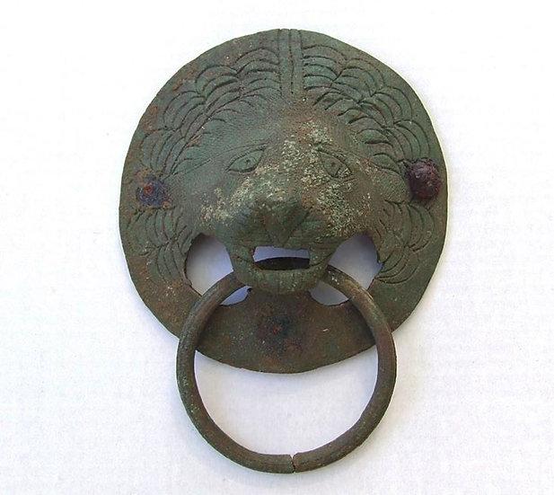 Ancient Roman Large Bronze Lion Head Handle Circa 2nd Century A.D.