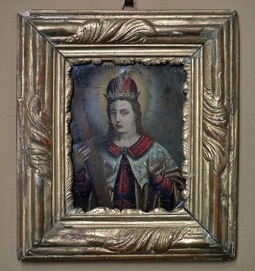Antique 17th-18th Century Baroque Polish Painting Portrait of Saint Casimir