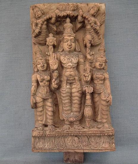 Antique Indian Hindu Wood Sculpture Vishnu Shridevi Bhudevi 18th Century India