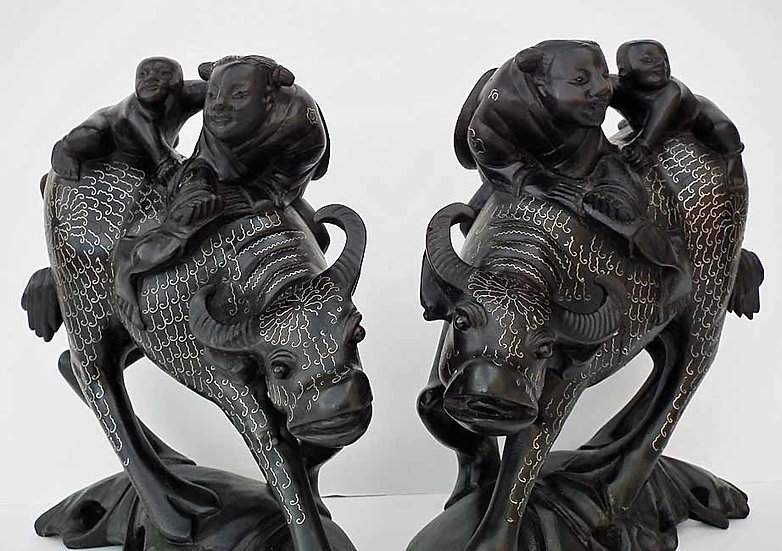 A pair Of Antique Chinese 19th century Qing Dynasty Silver Inlaid Sculptures