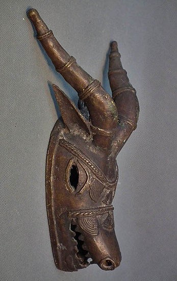 Antique or Vintage African Tribal Bronze Antelope Mask