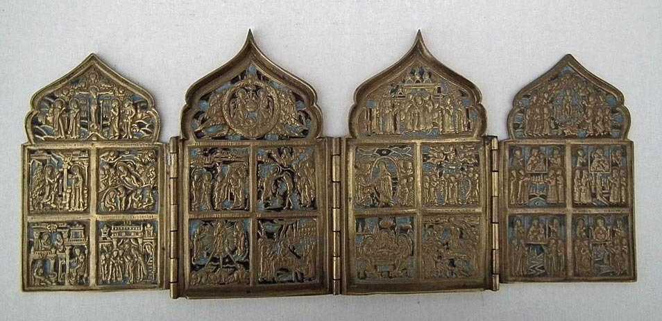 Antique Russian 18th-19th century Brass & Enamel Quadriptych Icon