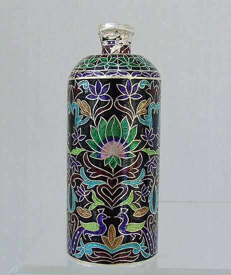 Antique Indian Lucknow Enameled Silver Perfume Bottle Scent Flask 19th c India