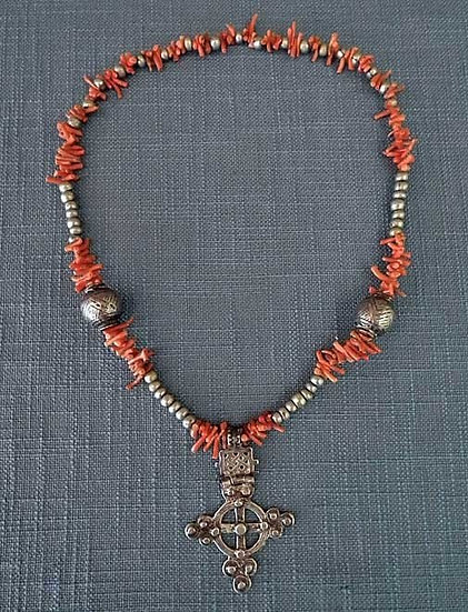 Antique African Ethiopian Necklace Silver beads with Coptic Cross and Corals