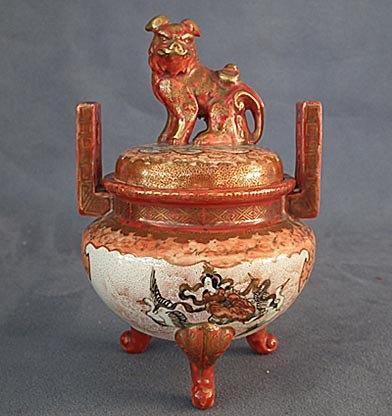 Antique Japanese Kutani Porcelain Incense Burner Koro