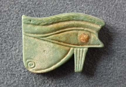 Ancient Egyptian Faience Amulet Eye of Horus,UZAT Wadjet-Eye 664-525 BC