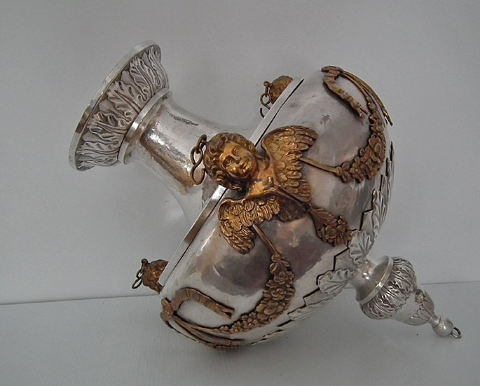 Huge Antique 19th Century Silver Plated Church Sanctuary Vigil Oil Lamp