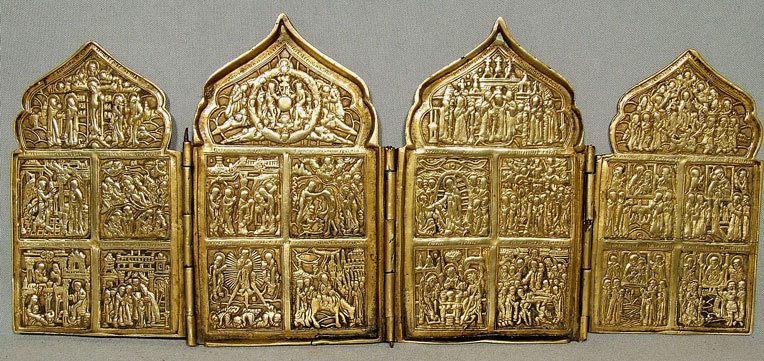 Antique Russian Icon Brass Four Panels 18th-19th century