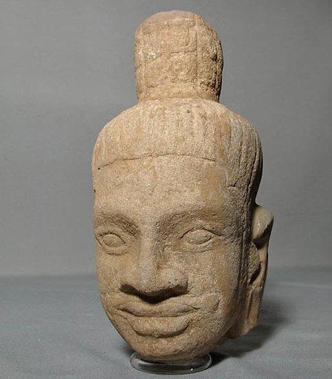 Antique Khmer Sandstone Head Of Shiva Bayon Period 12th Century A.D.