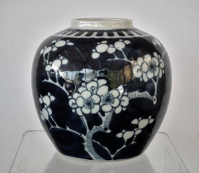 Antique Chinese Qing Dynasty Blue and White Porcelain Vase Blossoming Prunus