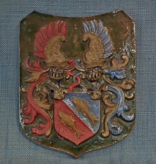 Antique 17th- 19th c German or Austrian Heraldic Armorial Shield Ceramic Tile