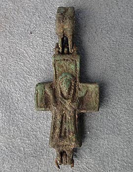 Ancient Byzantine Bronze Reliquary Encolpion Cross 9th-12th century A.D.