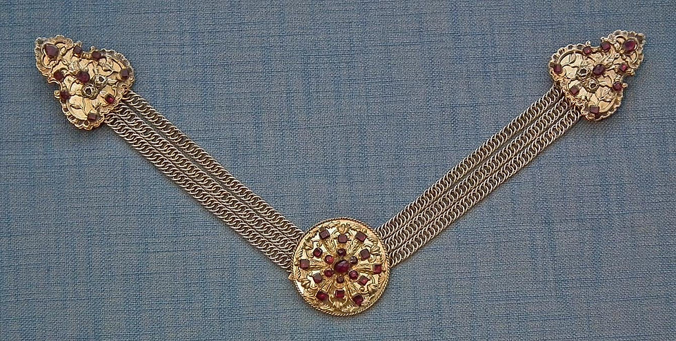 Antique 17-19th c Hungarian or Polish Gilt Silver Jeweled Mantle Clasp Buckle