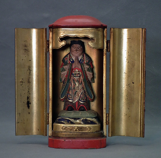 Antique Japanese Lacquer Buddhist shrine Zushi With Prince Shotoku Meiji Period