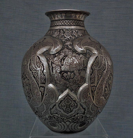 Antique Islamic Persian Qajar Dynasty Qalam Zani Tinned Copper Vase