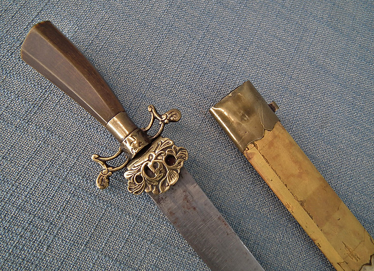 Antique 18th Century Dutch Hunting Hanger Sword With Rhino Horn Hilt