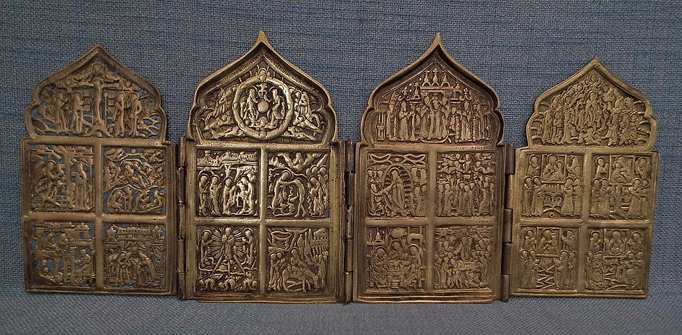 Antique Russian 18th-19th Century Brass Quadriptych Icon