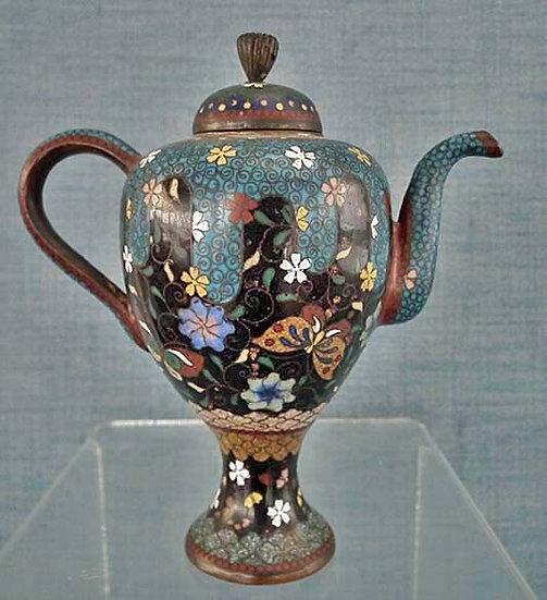 Antique 19th century Japanese Cloisonné Enamel Teapot Meiji Period