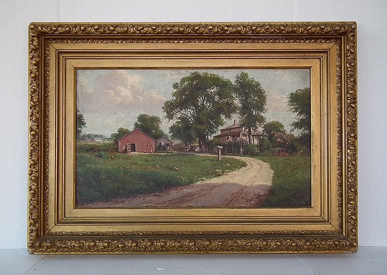 Antique American Oil Painting By Illinois Artist Lillian Hulsmann Dated 1913