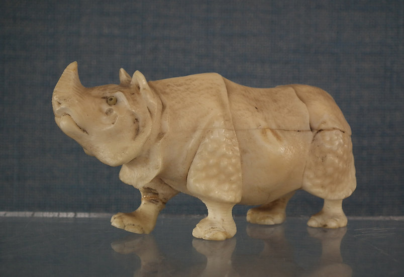Antique Japanese Okimono Rhinoceros Figure 19th Century Meiji Period